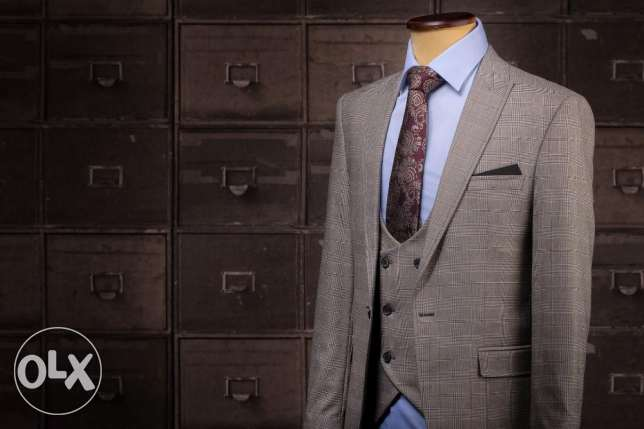 Italian Slim Fit Checked Beige and Blue Men Suit