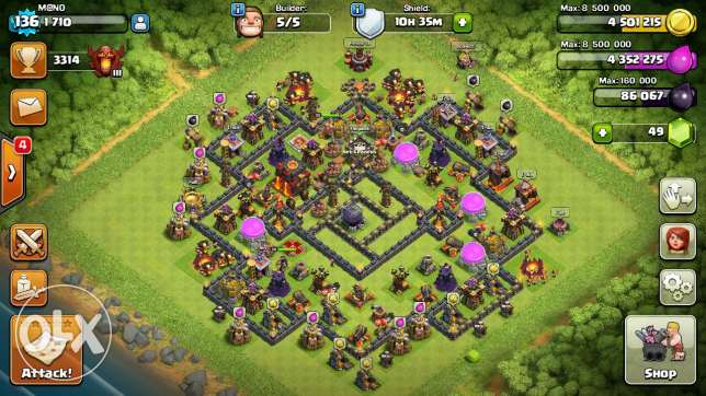 Clash of clans th10 MAX heroes 20 انطلياس -  1