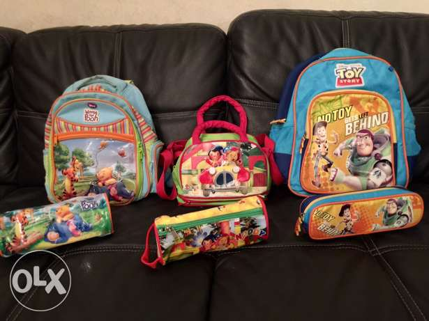 3 bags with 3 pencil cases original disney