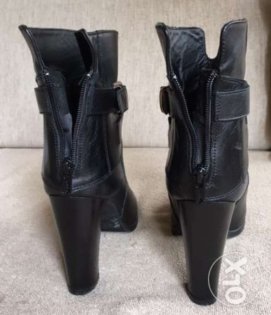Black leather women boots - size:37 المرفأ -  3