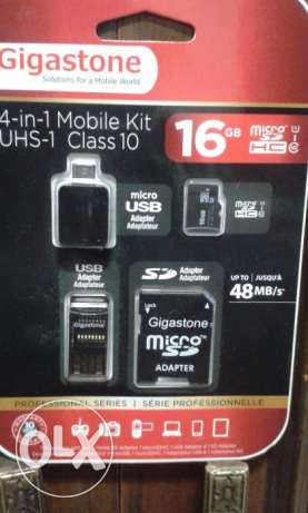 GIGASTONE 16GB 4-IN-1 Mobile Kit Class 10 Micro SD with SD & USB Adapt حازمية -  1