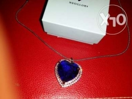 Blue Crystal Titanic Heart of the Ocean Love Necklaces