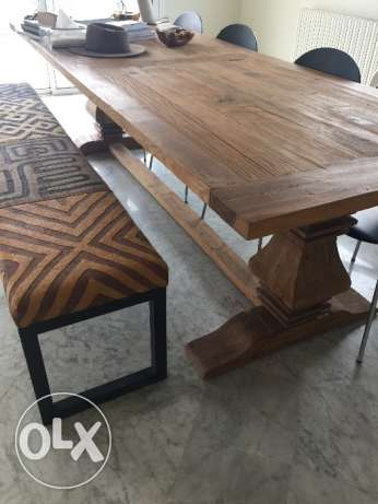 Dining table with bench and four chairs