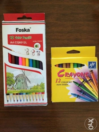 Crayons and and coloring pencils