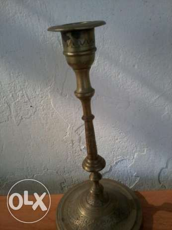 Old copper candlholder, hand made decorated, more than 150 years old,
