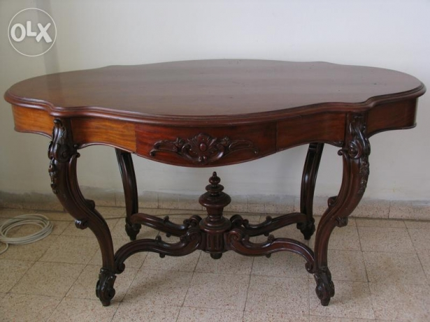 Old french table with 2 drawers (mahogany wood)