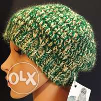 Handmade Christmas Green and gold beanie