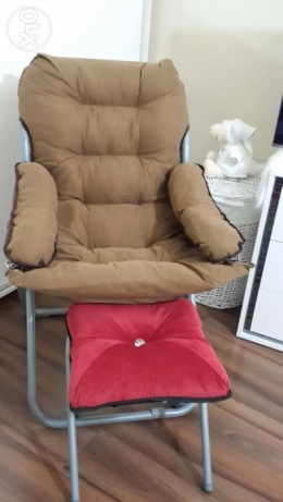 Arm chair with red bouff & vintage storage stool