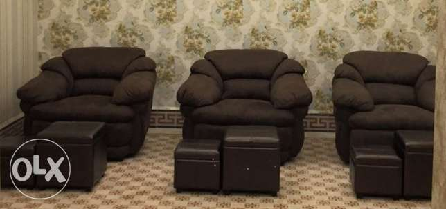 3 couches ( each 125$ ) and pouf chairs