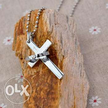Stainless steel Cross-ring pendant chain necklace (2 pics)