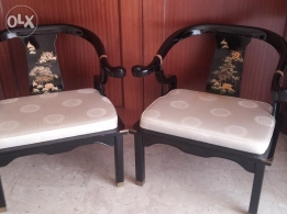 2 Japanese hand painted chairs for living room
