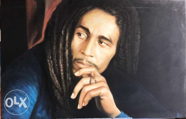 Spectacular Bob Marley Oil Painting For Sale.