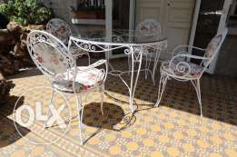 Steel Table and 4 Hand Made White Chairs