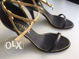 Chanel leather sandals 36.5 NEW & Original