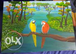 Acrylic painting of 2 parrots