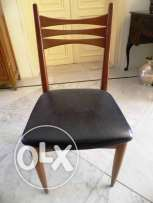 Single chair single wood chair with black leather