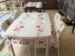 Table and Four Chair-Brand New for Kitchen-white & Brick color