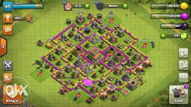 Clash of clans level 67 tawn holl 8 max and