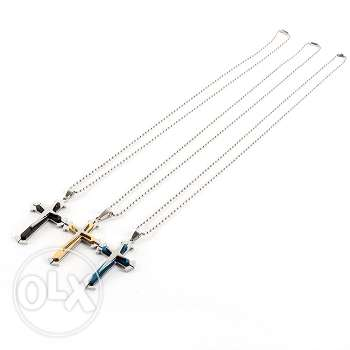 Unisex stainless steel cross pendant chain necklace (3 colors-4 pics)