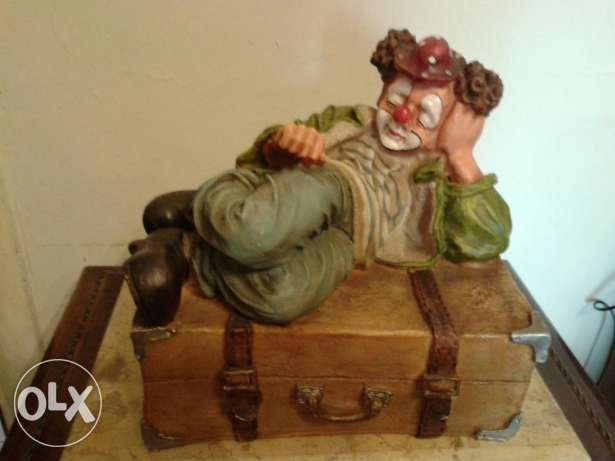 vintage clown on a box 35cm
