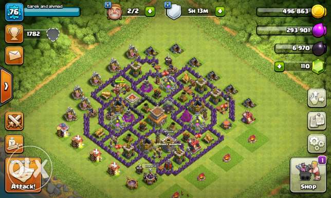 Clash of clans th 8 nos max lvl:77,gems:105,gold:400+,elexier:400+
