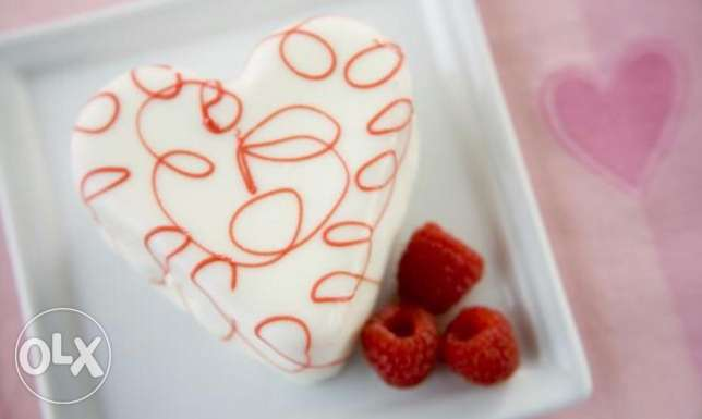 Heart shaped cake , valentine