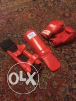 boxing gloves + knee guards