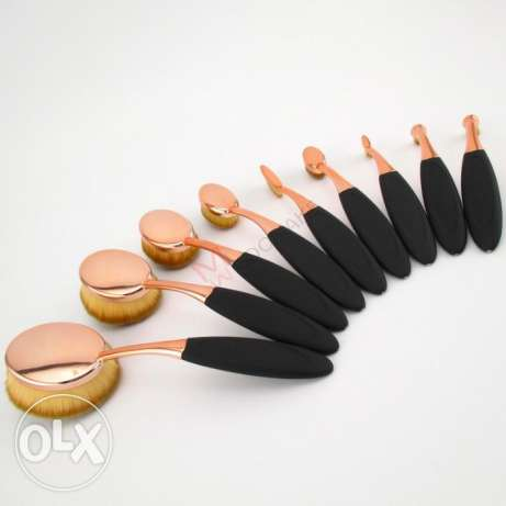 10Pcs Rose Gold Oval Brushes Set Blusher Foundation + 1 Makeup Sponge فردان -  5