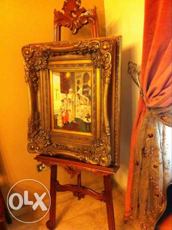 Antique stand and picture