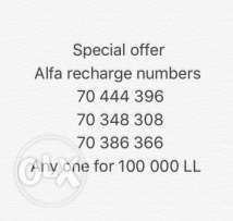special offer : alfa recharge numbers