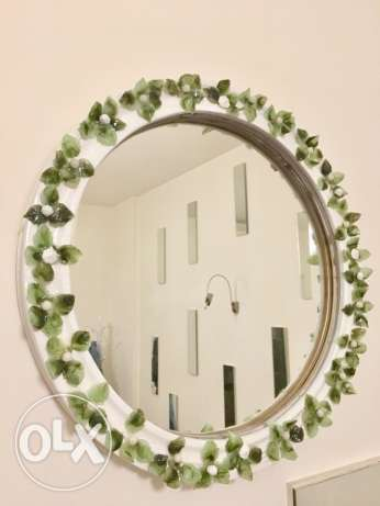 mirror with glass flowers 50 cm.