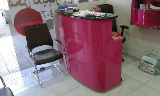 Beauty salon decoration with things for sale