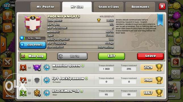 Clan level 9 40 members +base th9 for sae
