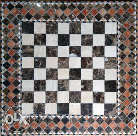 Mosaic Chessboard - 57x57 Cm - all marble-hand made - concrete cast.