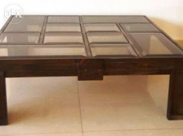 Salon Table With Glass for sale
