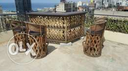 Beautiful hand-made outdoor wooden bar & chairs!