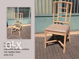 Dining chairs unpainted peeled bamboo with leather knots