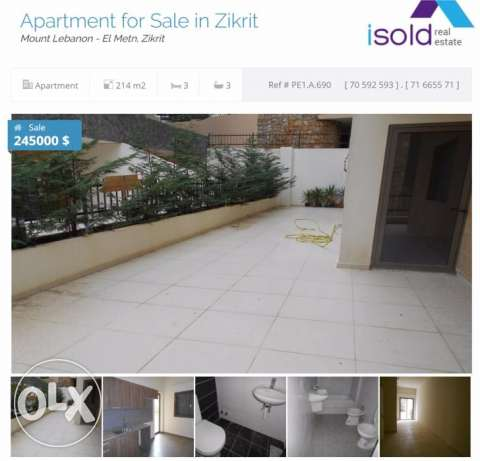 Apartment with 60 m2 terrace / garden for sale in Zikrit / Yachouh