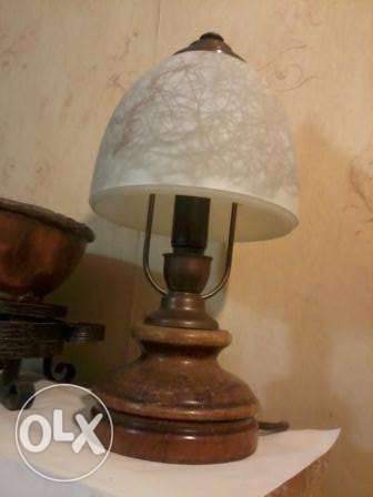 Old German Lamp, Brass and wood, 35cm, 27$,
