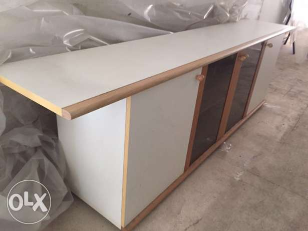 dinning buffet cabinet white with solid teak wood