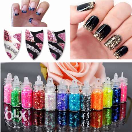 Bottle Glitter 12 pcs/set Nail Art Powde الميناء -  3