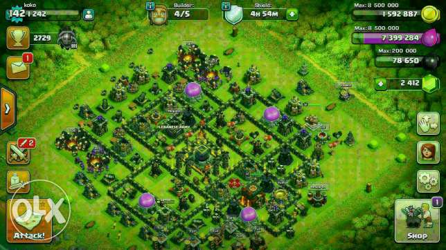 COC + clan level 9 all wall level 10 some level 11 qween 34 king 30 سوديكو -  1