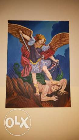 painting archangel defeating devil