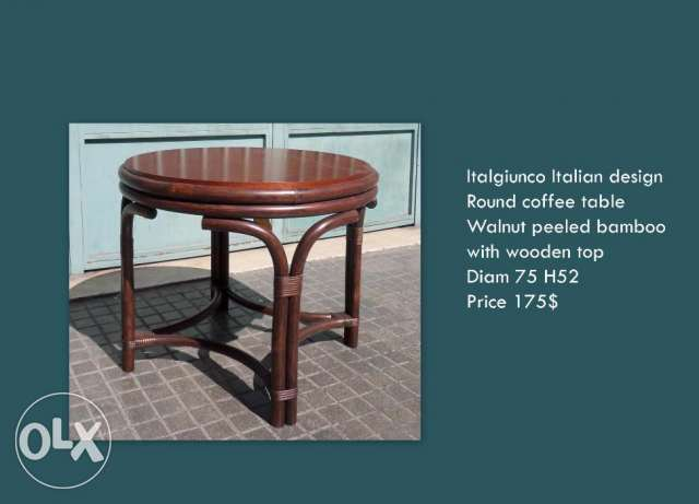 round table basse with wooden top
