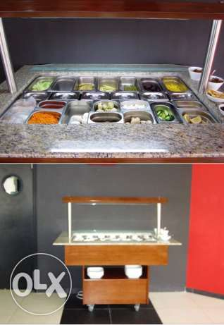 Salad Bar with granite corners fluorescent light and wheels