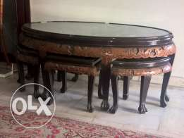 Chinese coffee table with 6 stools