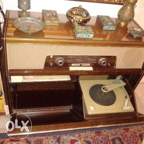 120 years old Antique Philips Turntable and Radio With Turntable disk