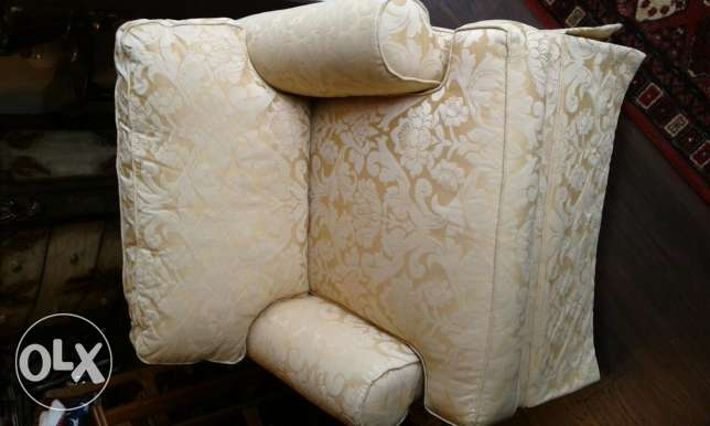 Yellow silk material armchair/USA...reduced from $175 to $150