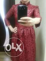 Brand new red leather lace dress promotion