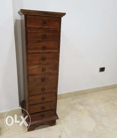 Vertical Wooden Column with 10 Drawers